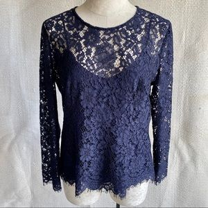 J.Crew Lace Long Sleeved Blouse Navy Blue